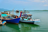 Fishing boats at the island's people — Stok fotoğraf