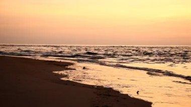 Vacker solnedgång på stranden — Stockvideo