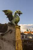Bronze dragon, Dragon Bridge, Ljubljana, Slovenia — Stockfoto