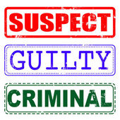 Suspect, guilty,criminal stamp — Stock Vector