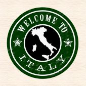 Welcome to italy stamp  — Vecteur