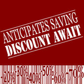 Anticiptes saving discount await — Stock Vector