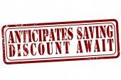 Anticipates saving discount await stamp — Stock Vector