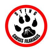 Sting causes filariasis stamp — Stock vektor
