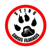 Sting causes filariasis stamp — Wektor stockowy