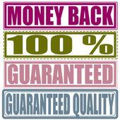 Set stamp money back, percent, guaranteed, guaranteed quality — Stock Vector