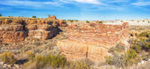 Panoramic view of box canyon pueblos in Wupatki National Monumen — Stock Photo