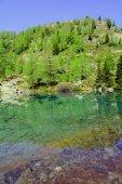 Blue Lake and Glacier moraine Verra — 图库照片