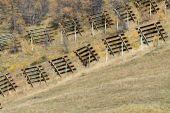 Protective barriers anti avalanche — Stock Photo