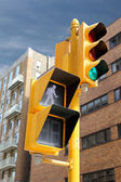 Traffic Light in the city.  YOU can GO. high-rise buildings beh — Foto de Stock