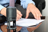 Businessman working with Documents in the office . Closeup view — Stock Photo