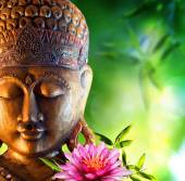 Oriental background with buddha, lily and bamboo — Foto Stock