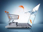 Goldfish in cart - e-commerce concept — Stock Photo