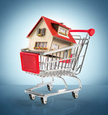 House in shopping-cart - in blue — Stock Photo