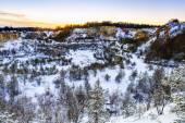 Abandoned Winter Quary — Stock Photo