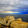 Landscape, view, sea, waves, rocks, stones, sunset, beach, adventure holiday, sun, sunlight, clouds, sky, cloudy sky — Stock Photo #53173167