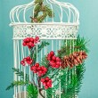 White christmas cage with tree decoration — Stock Photo #52797323