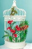White christmas cage with tree decoration — Stock Photo