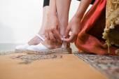 Zapatos de esparto blanco — Foto de Stock