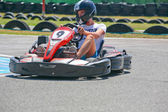 Guy having fun on a go cart. Summer season — Foto de Stock