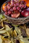 Wicker basket full of autumn fruits — Stock Photo