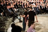 Steadycam team recording a political event of Extremadura Nation — Stock Photo