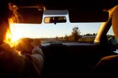 Troubles of driving at sunset — Stock Photo