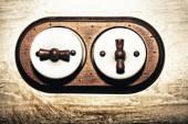 Ancient style double light switch — Zdjęcie stockowe