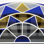 Half circle colorful glass window — Stock Photo #70751709
