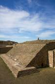 Monte Alban Oaxaca Mexico ancient ball game stadium one grandstand — Stock Photo