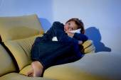 Woman lying on couch with pillow cushion in stress and depression — Foto de Stock