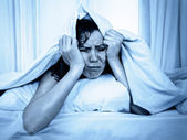 Young woman in bed suffering stress insomnia  and sleeping disorder — Stock Photo