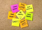 New year Resolutions Post it notes — Stockfoto