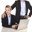 Young attractive businesswoman suffering sexual harassment and abuse of colleague or office boss — Stock Photo #58469769
