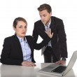 Young attractive businesswoman suffering sexual harassment and abuse of colleague or office boss — Stock Photo #58469831