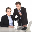 Young attractive businesswoman suffering sexual harassment and abuse of colleague or office boss — Stock Photo #58469867