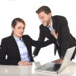 Young attractive businesswoman suffering sexual harassment and abuse of colleague or office boss — Stock Photo #58469885