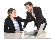 Young attractive businesswoman suffering sexual harassment and abuse of colleague or office boss — Stock Photo