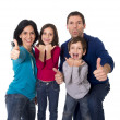 happy Brazilian family mother and father playing with little son and daughter having fun — Stock Photo #63463657