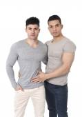 happy gay homosexual couple of young attractive and handsome good looking men in love — Stock Photo