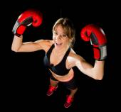 Young happy beautiful boxer girl with boxing gloves arms in victory sign with fit and healthy body — Foto Stock