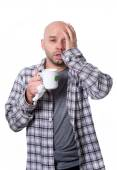 Young sick man infected by winter grippe virus feeling unwell  of tea suffering flu headache temperature — Stock Photo