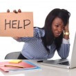 Black African American ethnicity frustrated woman working in stress at office — Stock Photo #65699715