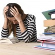 Young stressed student girl studying and preparing MBA test exam in stress tired and overwhelmed — Stok fotoğraf #65719743