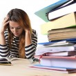 Young stressed student girl studying and preparing MBA test exam in stress tired and overwhelmed — Stok fotoğraf #65721679