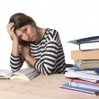 Young stressed student girl studying and preparing MBA test exam in stress tired and overwhelmed — Stock Photo #65721905