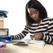 Black African American ethnicity student girl studying textbook  — Stock Photo #65875327