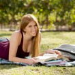 Young beautiful student girl on campus park grass with books studying happy preparing exam in education concept — Stock Photo #66003549