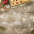 Old table decorated wintry — Stock Photo #53808655