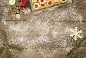 Old table decorated wintry — Stock Photo